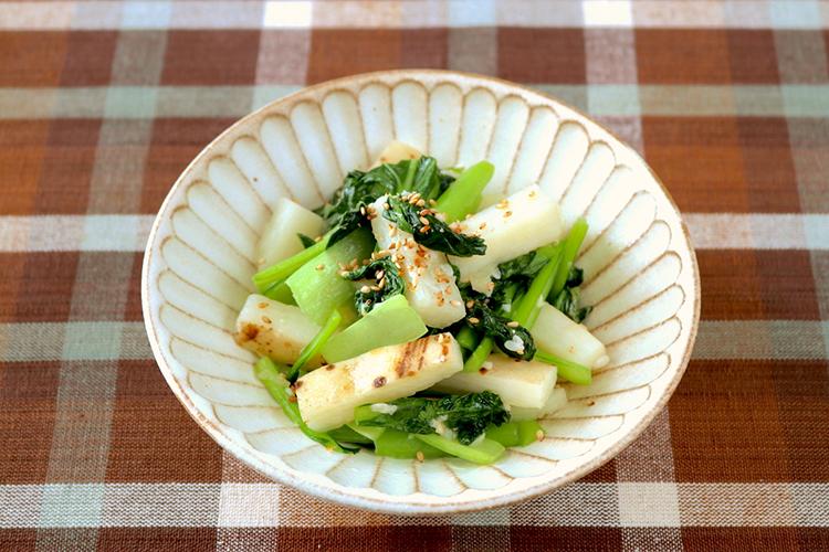 小松菜と長芋の塩糀炒め